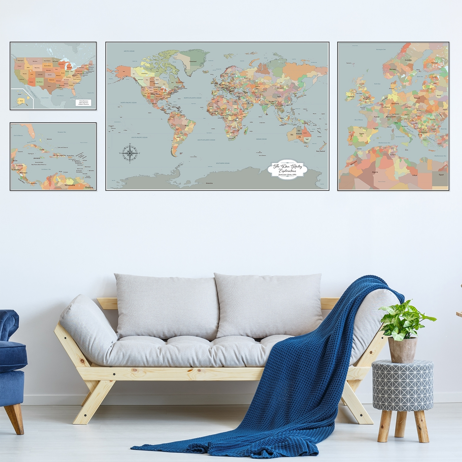 Large World Map Wall Art, Set Of 4 Push Pin Maps With Pins, Personalized intended for Recent Large Coastal Wall Art