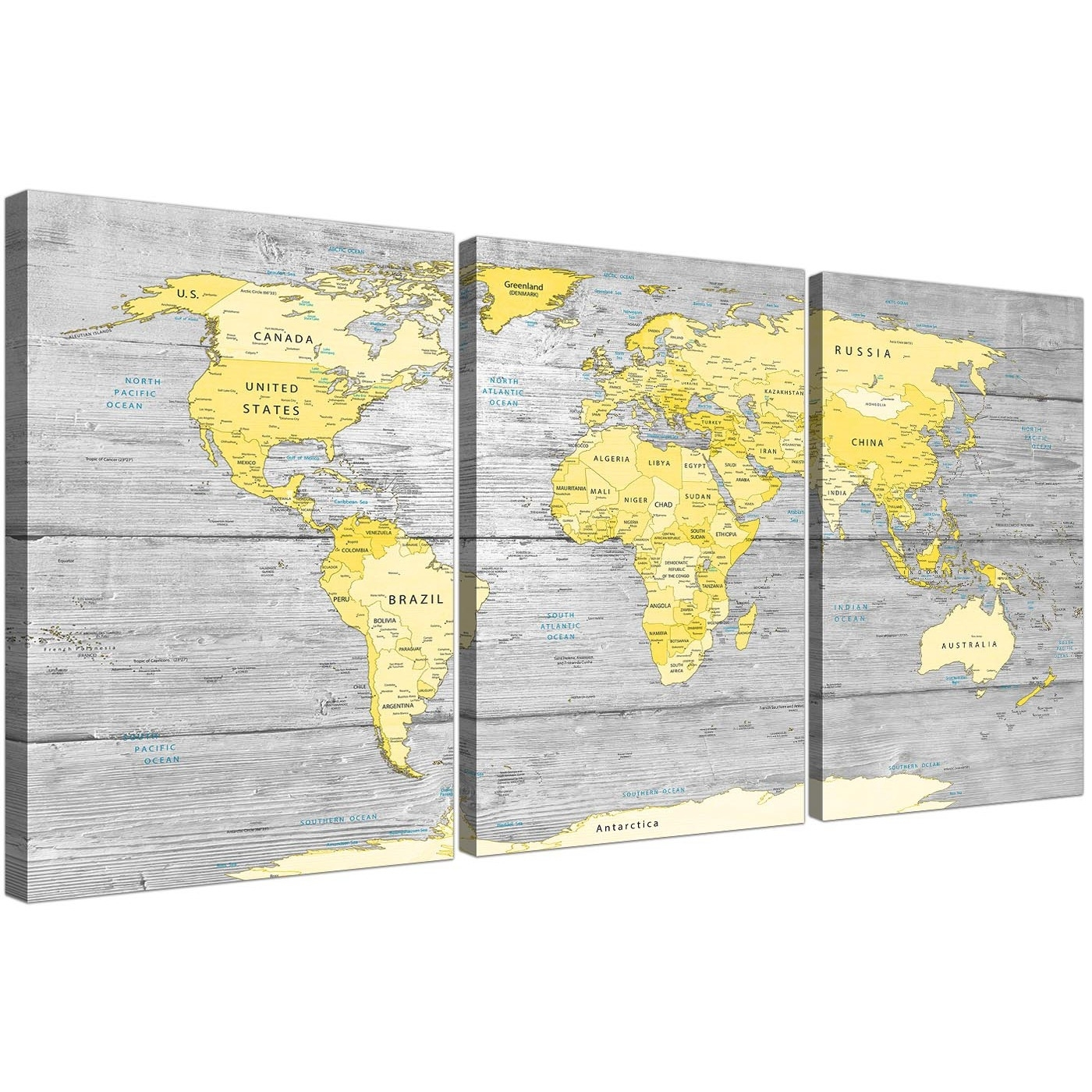 Large Yellow Grey Map Of World Atlas Canvas Wall Art Print in Recent Gray Canvas Wall Art