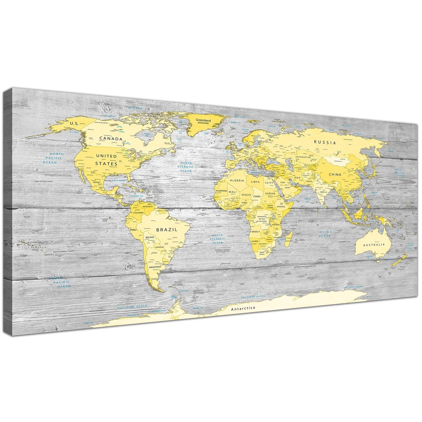 Large Yellow Grey Map Of World Atlas Canvas Wall Art Print - Maps with Most Up-to-Date Yellow Wall Art