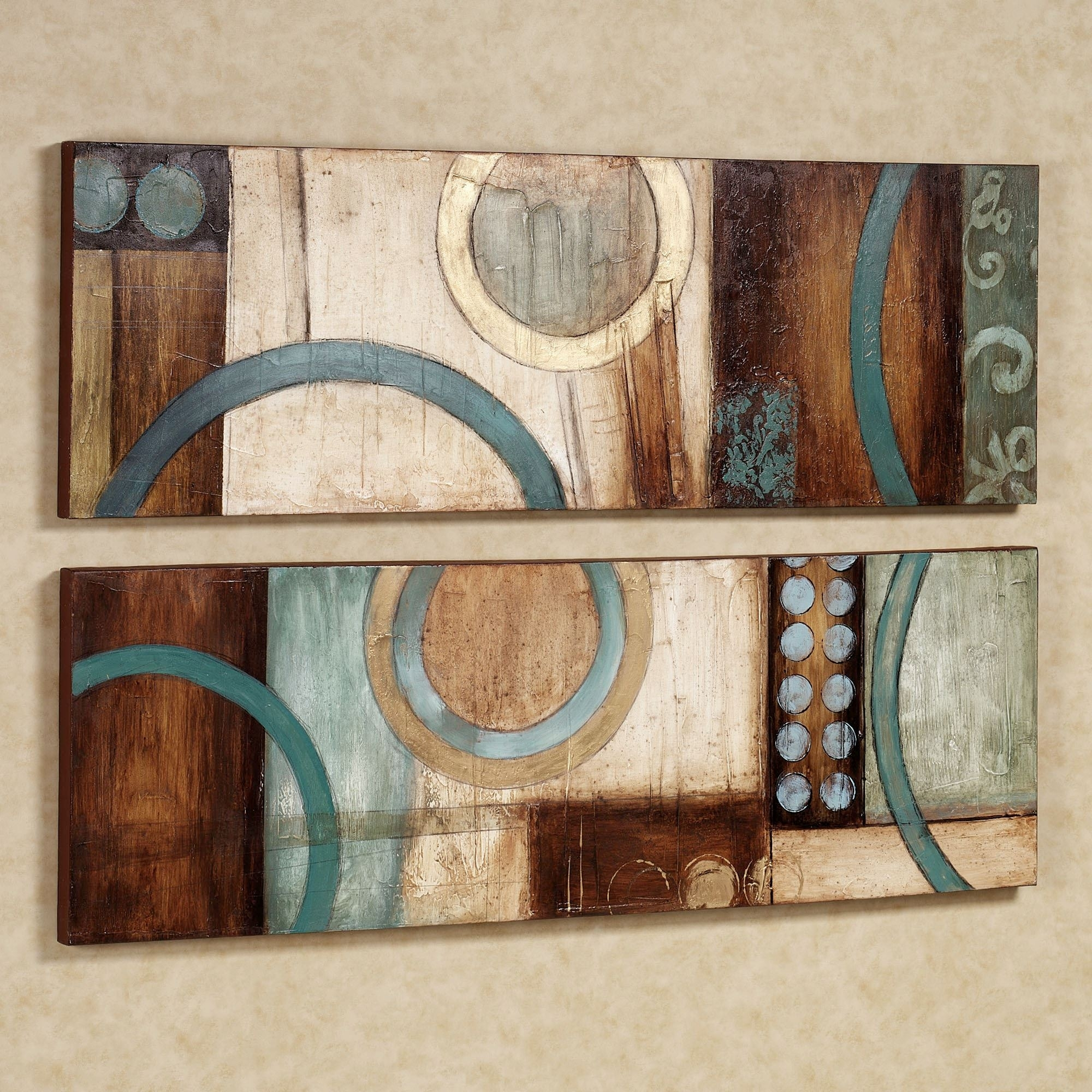 Lavare Canvas Wall Art Set For Recent Teal And Brown Wall Art (View 2 of 20)