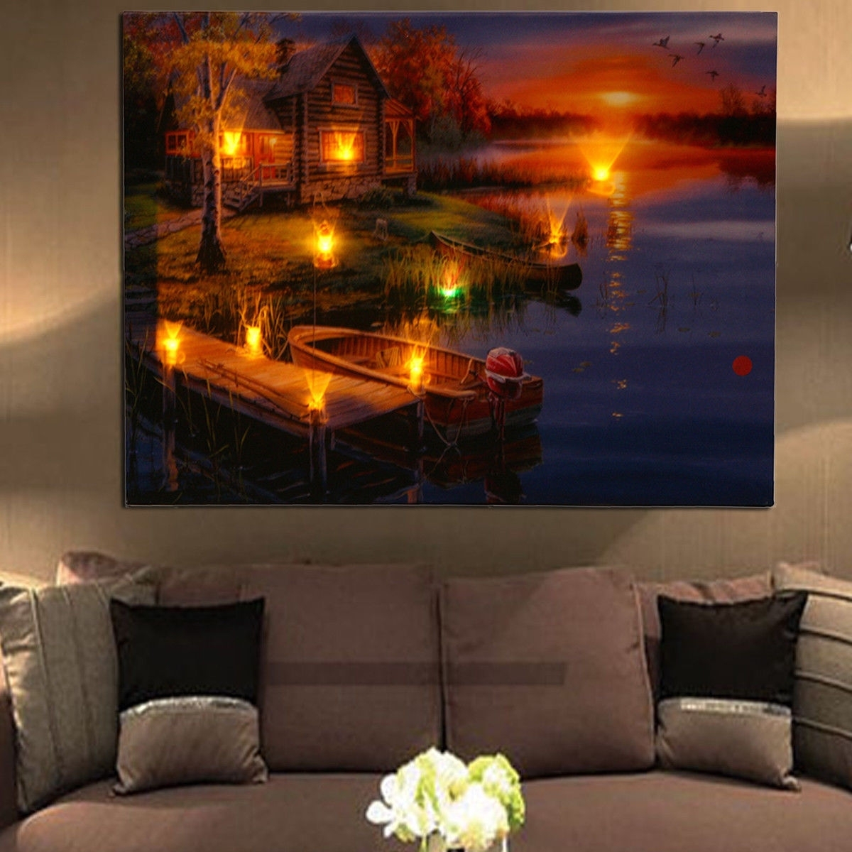 Led Lighted Lake Cabin Sunset Boat Canvas Wall Art Light Up Picture Throughout 2018 Light Up Wall Art (View 12 of 20)