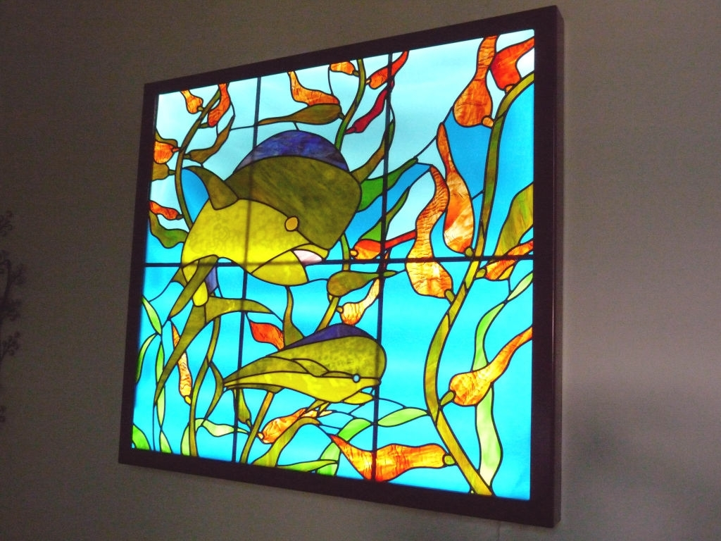 Led Lighting Illuminates Stained Glass Artcastles Made Of Sand regarding Recent Stained Glass Wall Art