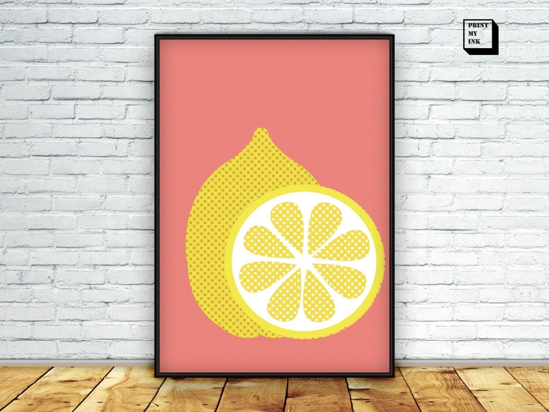 Lemon Print Lemon Wall Art Citrus Print Lemon Poster, Lemon Wall Art regarding Most Up-to-Date Lemon Wall Art