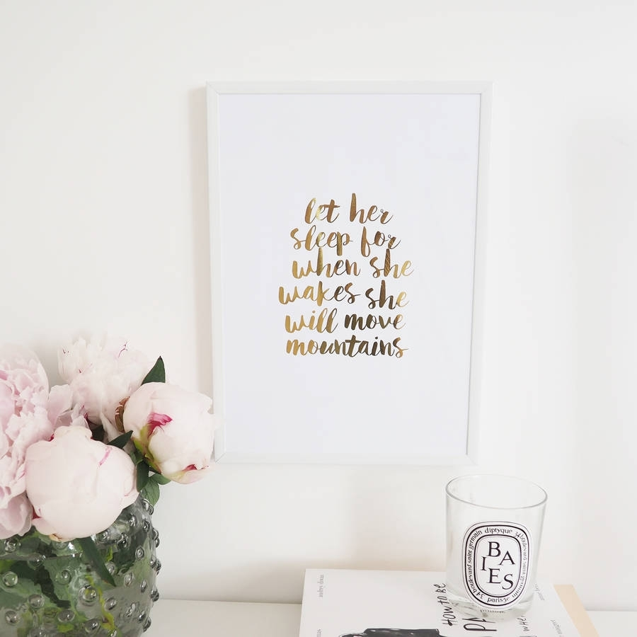Let Him/her Sleep' Wall Art Foil Printlily Rose Co Inside 2018 Gold Foil Wall Art (View 13 of 20)