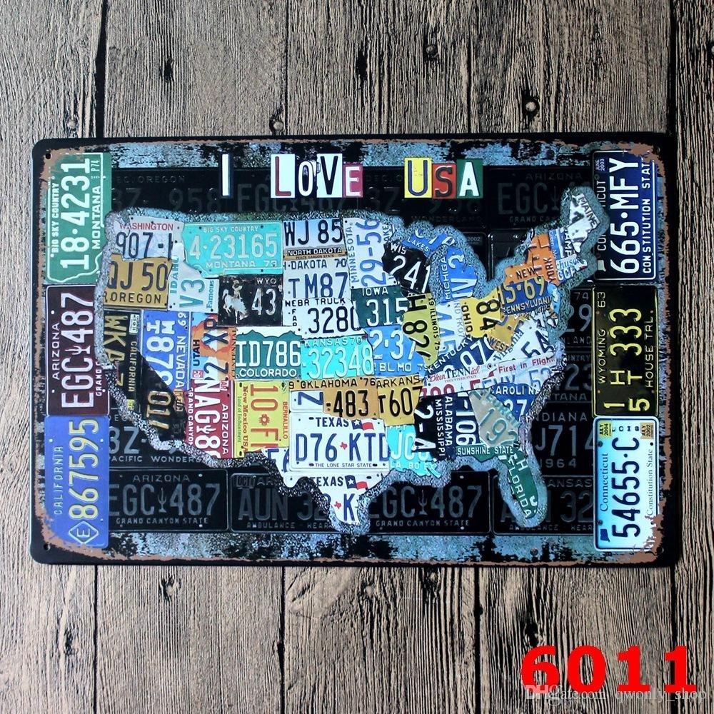 License Plates Map Vintage Tin Sign Bar Pub Home Wall Decor European Within Best And Newest Vintage American Flag Wall Art (View 17 of 20)