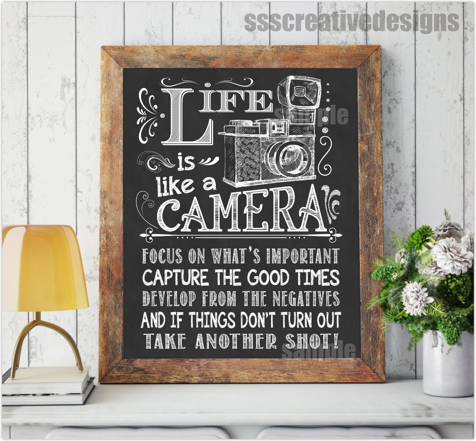 Life Is Like A Camera Print Poster Wall Art Print Chalk Board With Regard To 2017 Chalkboard Wall Art (View 13 of 20)