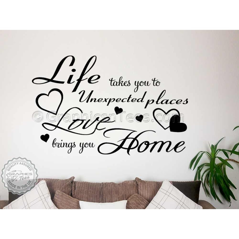 Life Takes You To Unexpected Places, Love Brings You Home Family pertaining to Most Current Family Wall Art