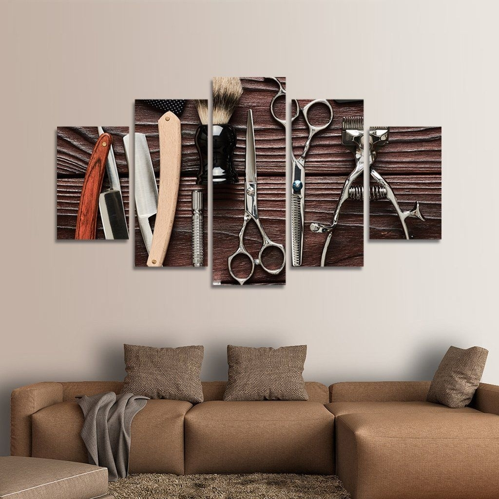 Lifestyle Barbershop Multi Panel Canvas Wall Art | Iram Barber inside Latest Multi Panel Wall Art
