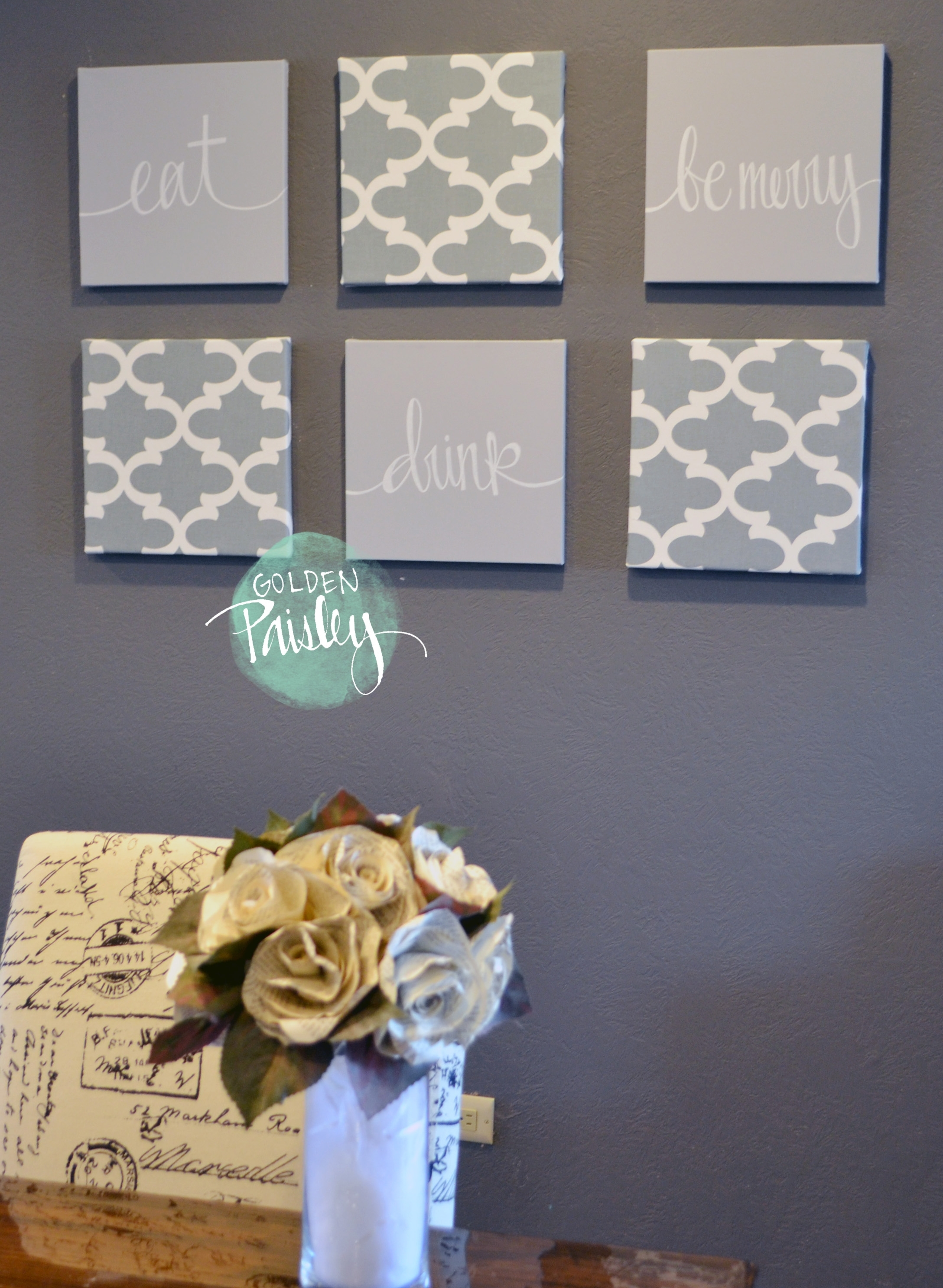 Light Gray Moroccan 6 Piece Wall Art Eat Drink Be Merry With Regard To Most Up To Date Gray Canvas Wall Art (View 16 of 20)
