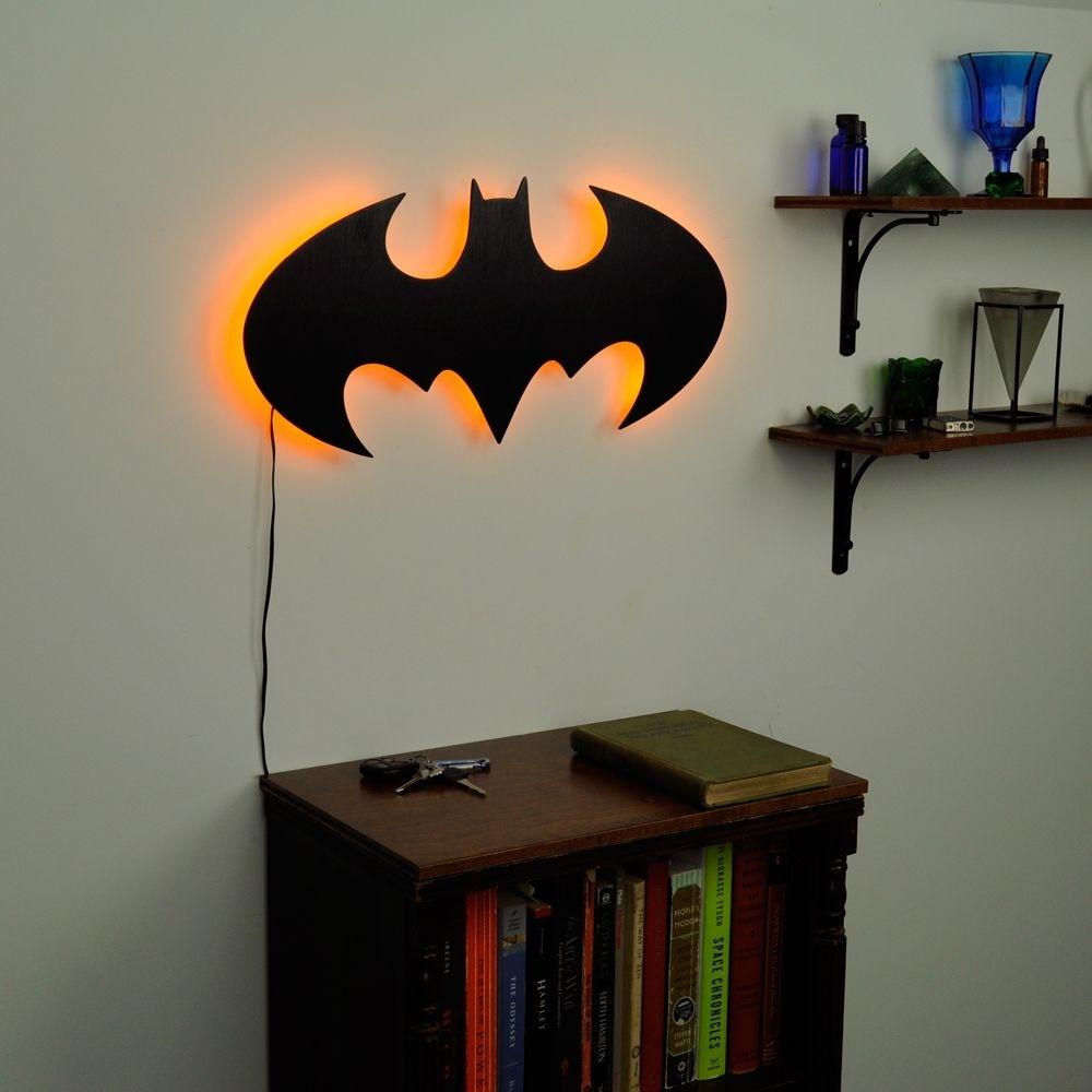 Lighted Batman Logo Wall Art | Toddler Room Ideas | Pinterest Regarding 2018 Batman Wall Art (View 17 of 20)