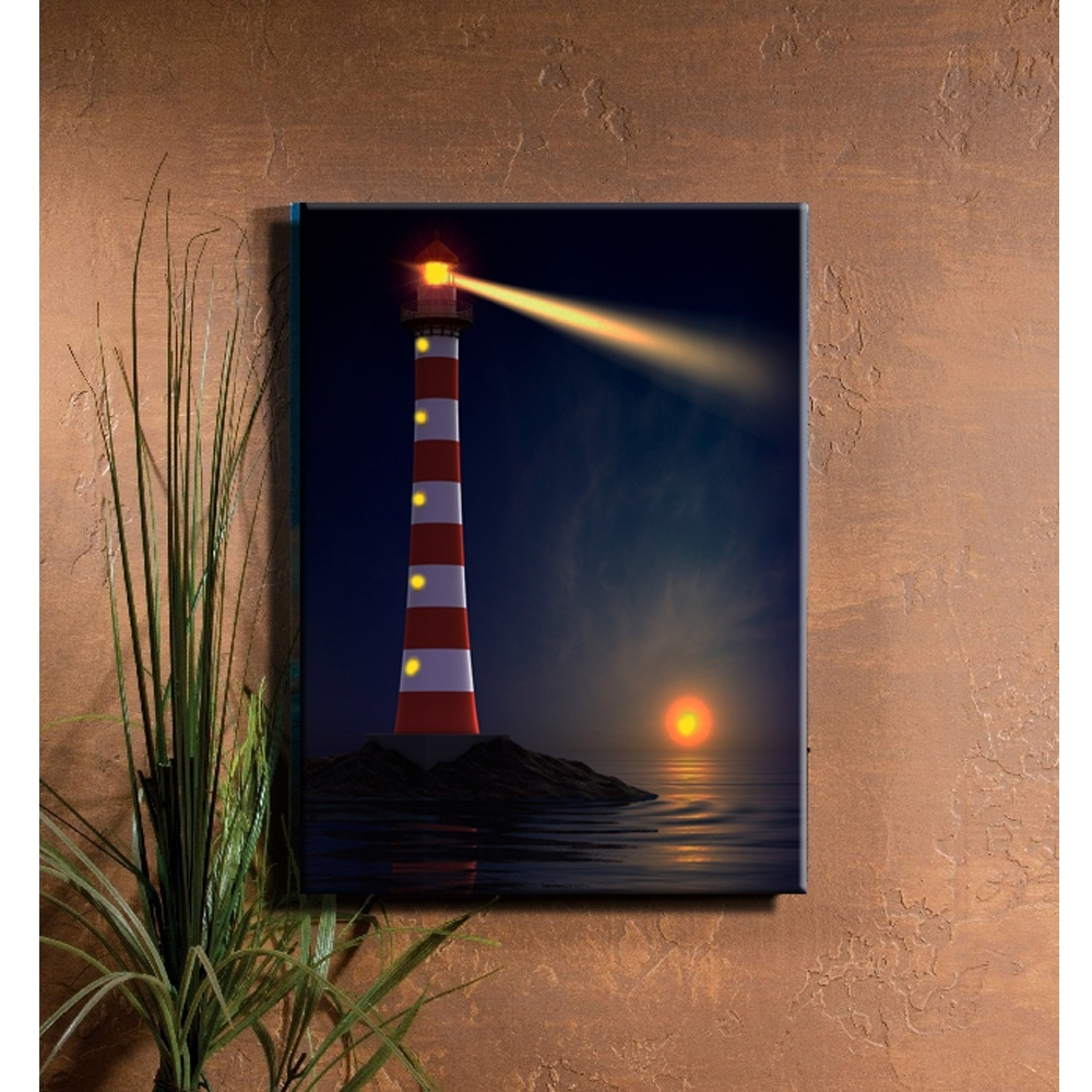 Lighted Lighthouse Coastal Illuminate Sunset Seascape View Canvas With Most Current Light Up Wall Art (View 16 of 20)