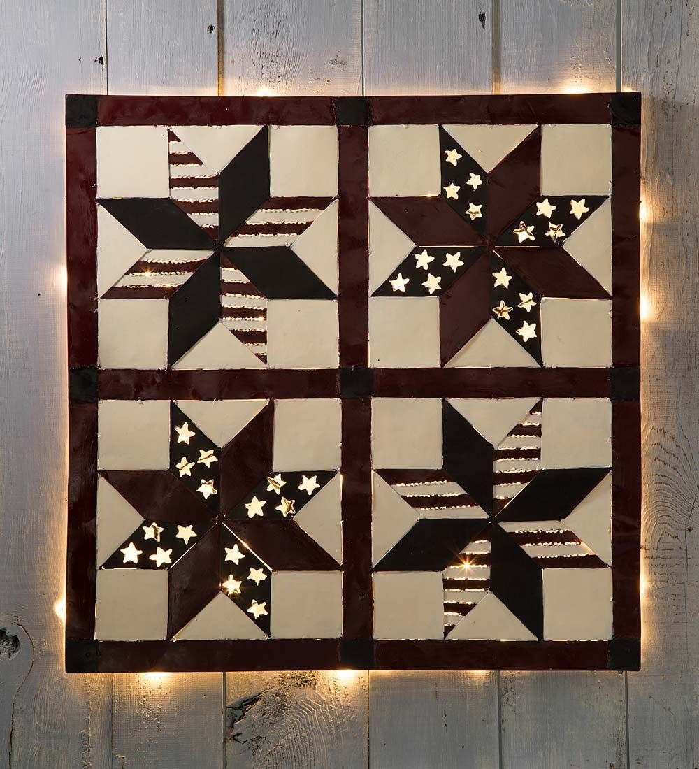 Lighted Patriotic Patchwork Metal Wall Art | Wall Art | Wall Art Intended For Newest Lighted Wall Art (Gallery 20 of 20)