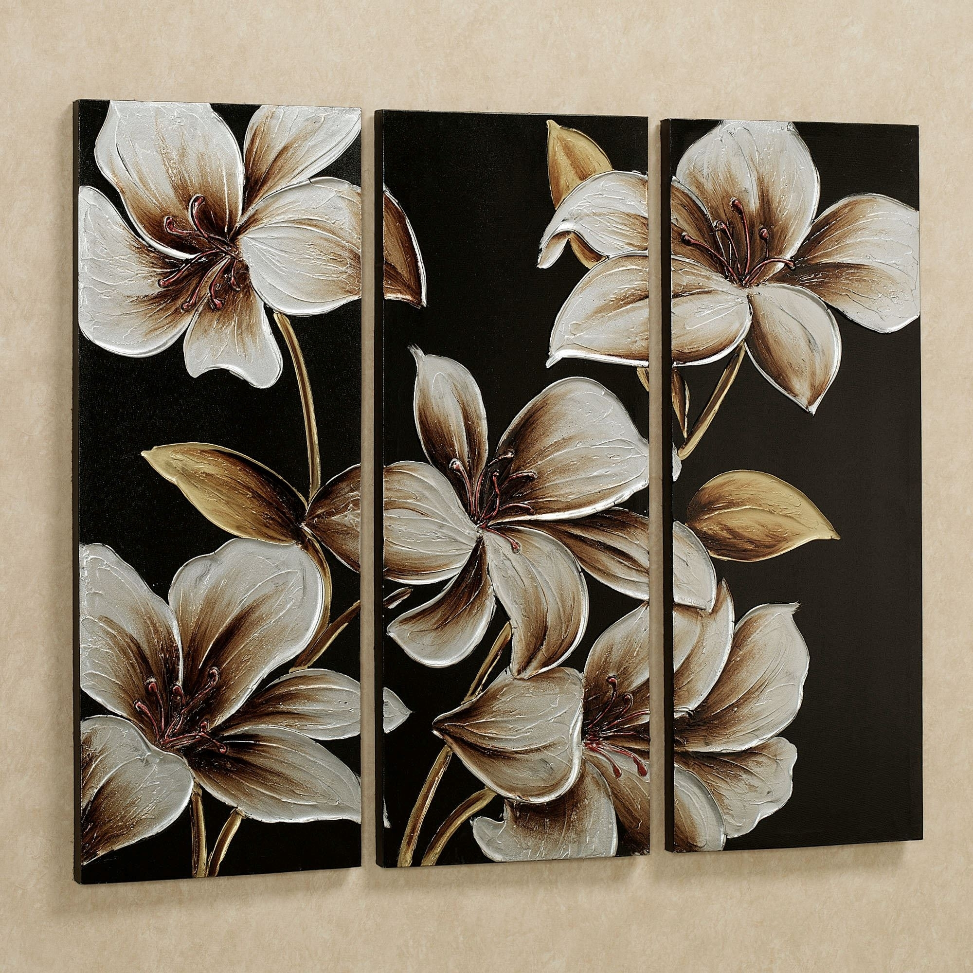 Lilies At Dusk Floral Triptych Canvas Art Set pertaining to 2018 Floral Canvas Wall Art