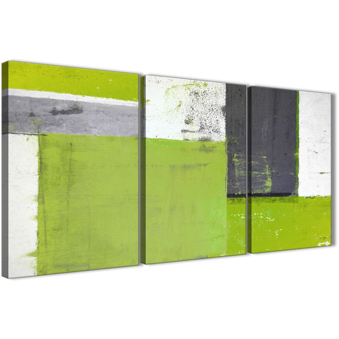 Lime Green Grey Abstract Painting Canvas Wall Art Print – Multi Set In Current Green Wall Art (View 14 of 20)
