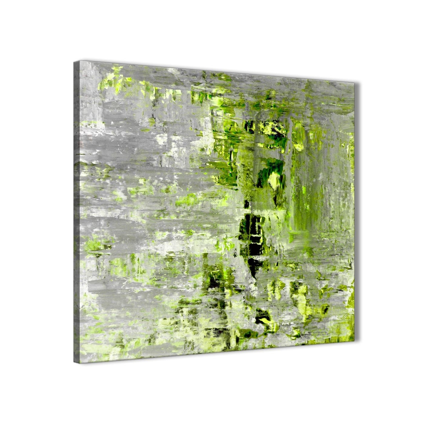 Lime Green Grey Abstract Painting Wall Art Print Canvas – Modern With 2018 Green Wall Art (View 15 of 20)