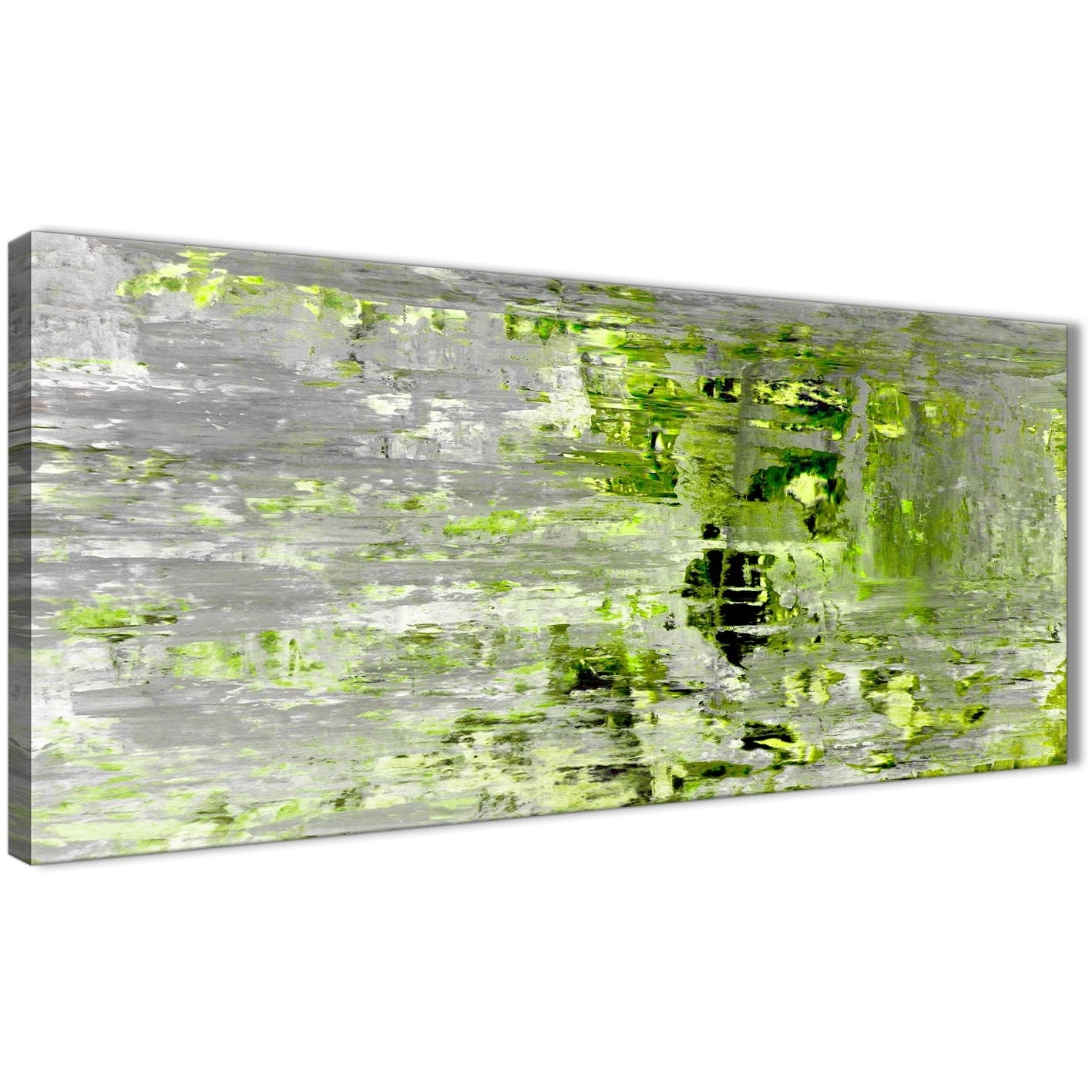 Lime Green Grey Abstract Painting Wall Art Print Canvas – Modern With Recent Green Wall Art (Gallery 16 of 20)