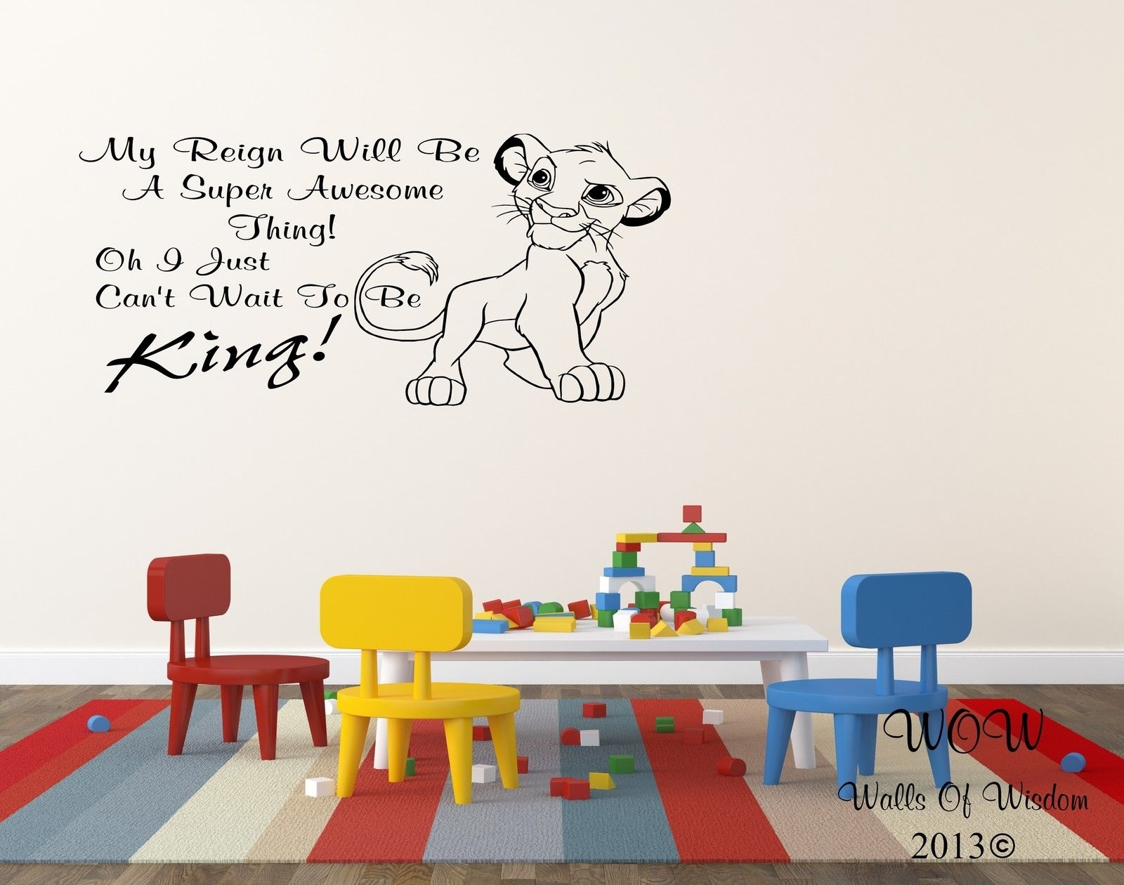 Lion King Simba Childrens Bedroom Wall Sticker Wall Art Decal Home For Recent Lion King Wall Art (View 20 of 20)