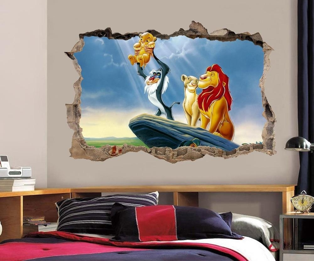 Lion King Simba Smashed Wall Decal Graphic Wall Sticker Decor Art With Regard To Most Recent Lion King Wall Art (View 6 of 20)
