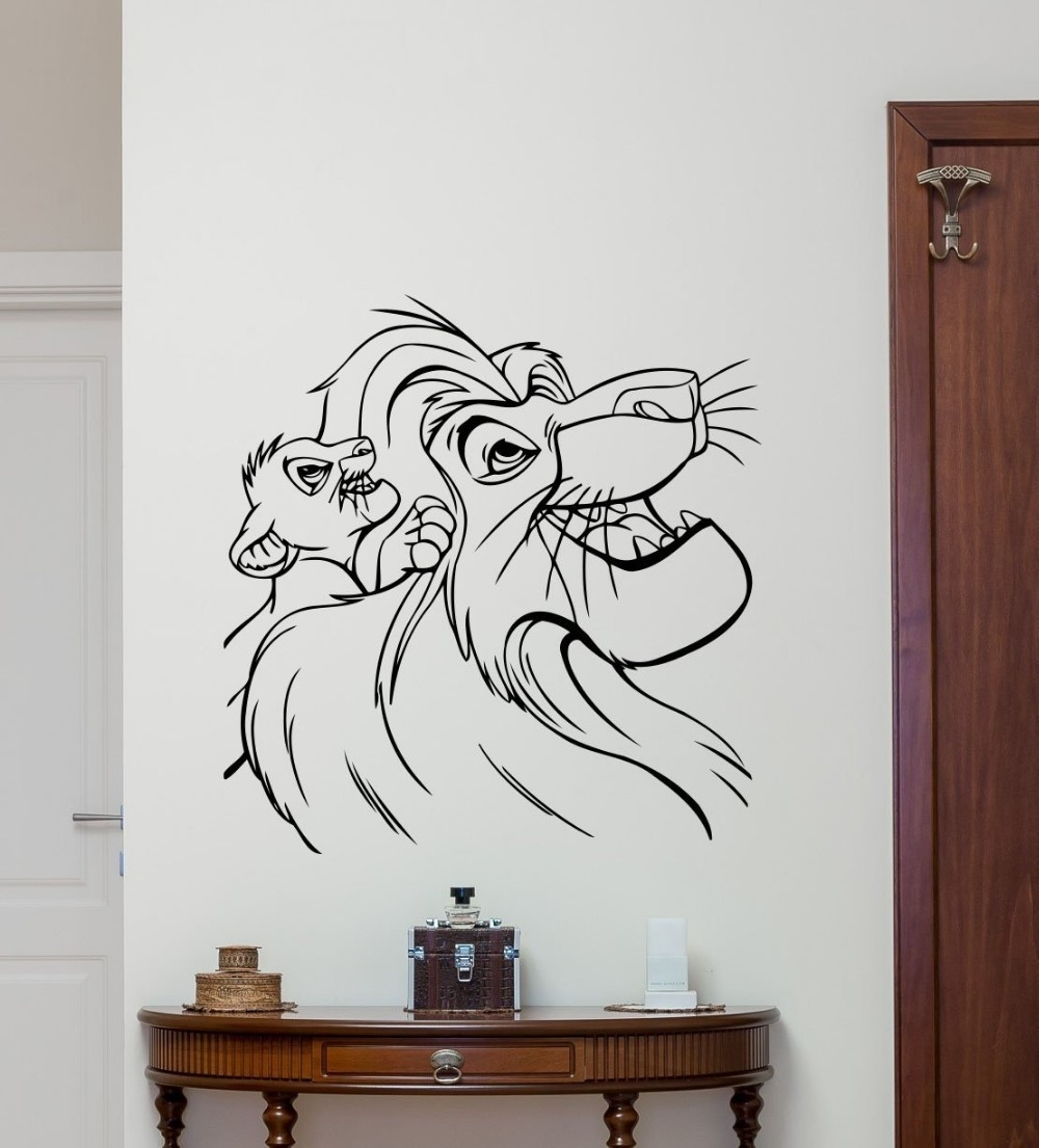 Lion King Wall Decal Cartoons Vinyl Sticker Simba Nursery Wall Decor In 2017 Lion King Wall Art (View 8 of 20)