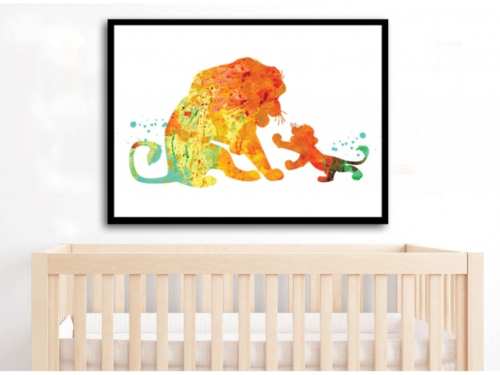Lion King Watercolor Art Print Simba And Mufasa Watercolor Lion King Within Latest Lion King Wall Art (View 11 of 20)