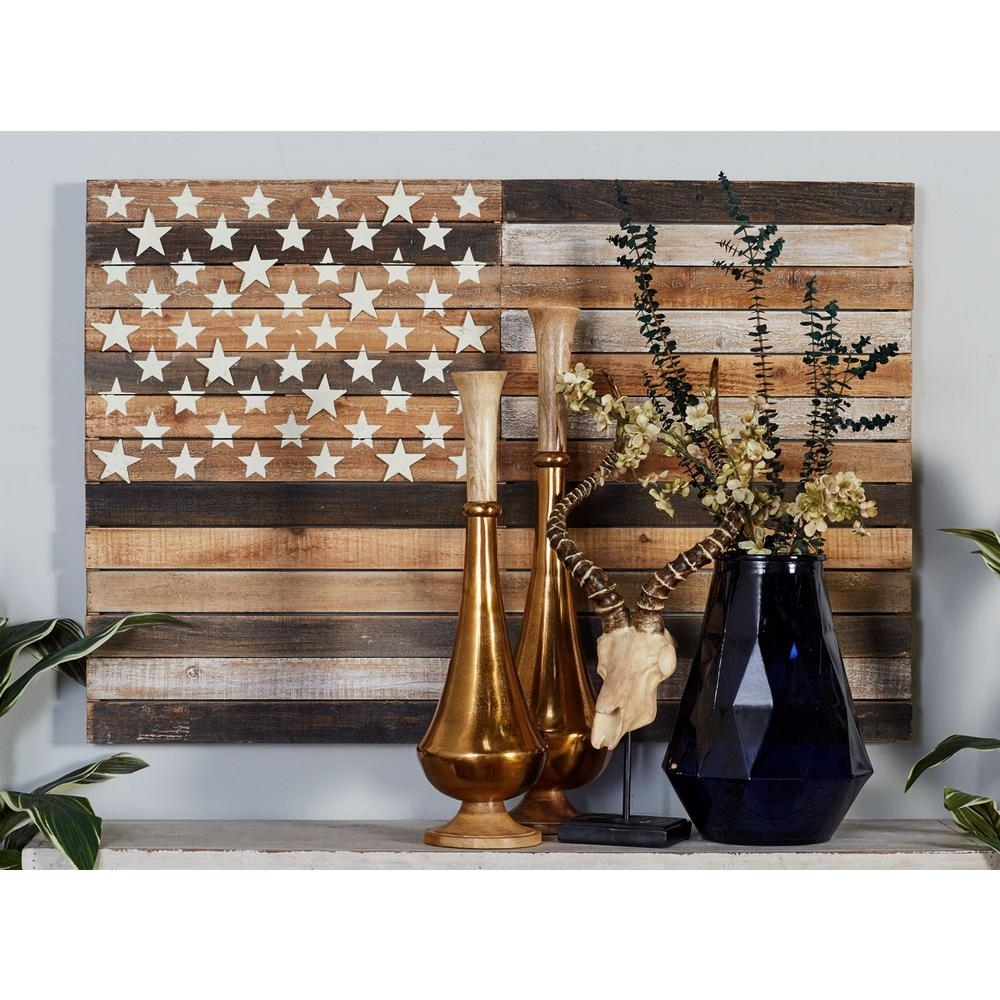 "Litton Lane 30 In. X 44 In. ""rustic American Flag"" Framed Wooden regarding Most Current Rustic American Flag Wall Art"