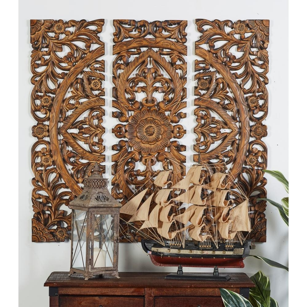 """Litton Lane 36 In. X 12 In. """"carved Botanical Medallion"""" Framed for Most Up-to-Date Wood Carved Wall Art"""