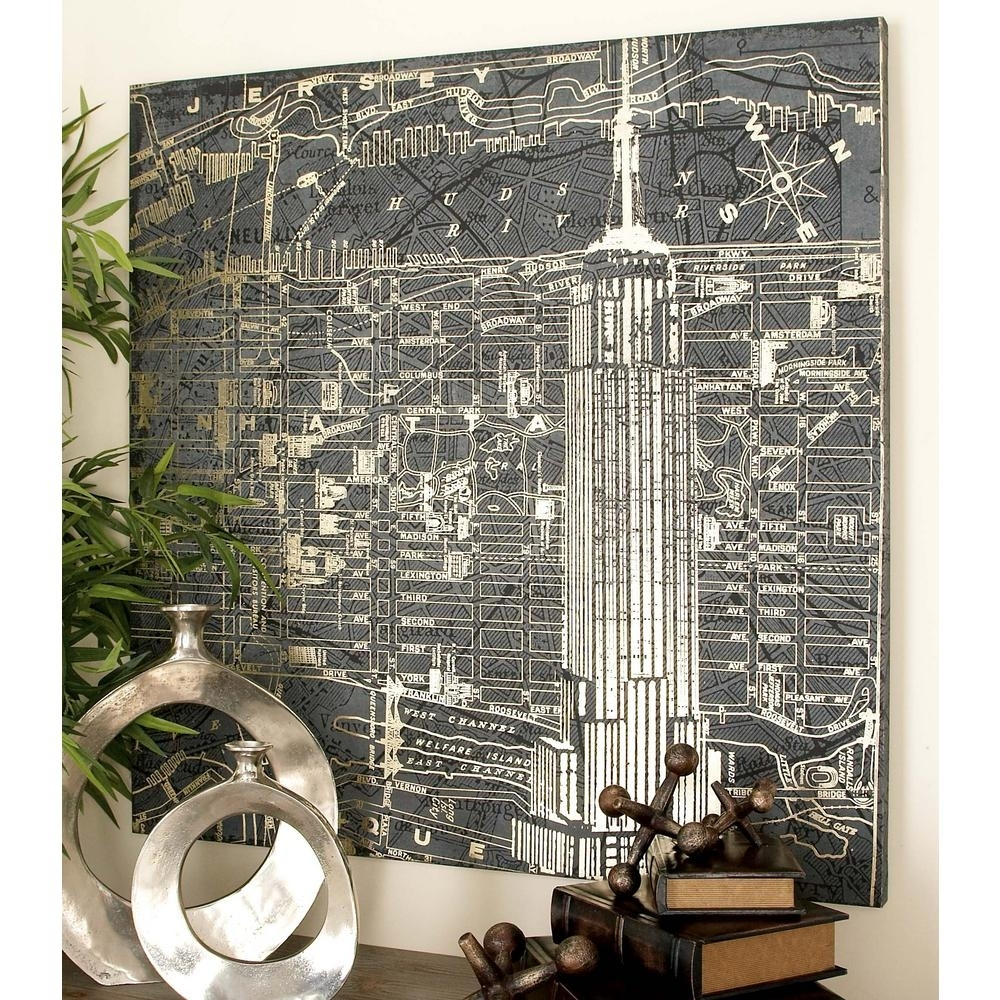 Litton Lane 39 In. Graphic Style Vintage New York City Canvas Wall Intended For 2017 New York Wall Art (Gallery 12 of 20)