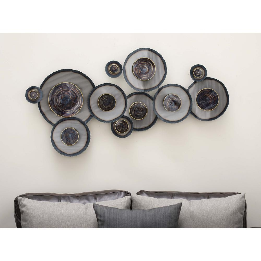 Litton Lane 45 In. X 24 In. Rustic Iron Abstract Swirled Circles Inside Latest Circle Wall Art (Gallery 15 of 20)