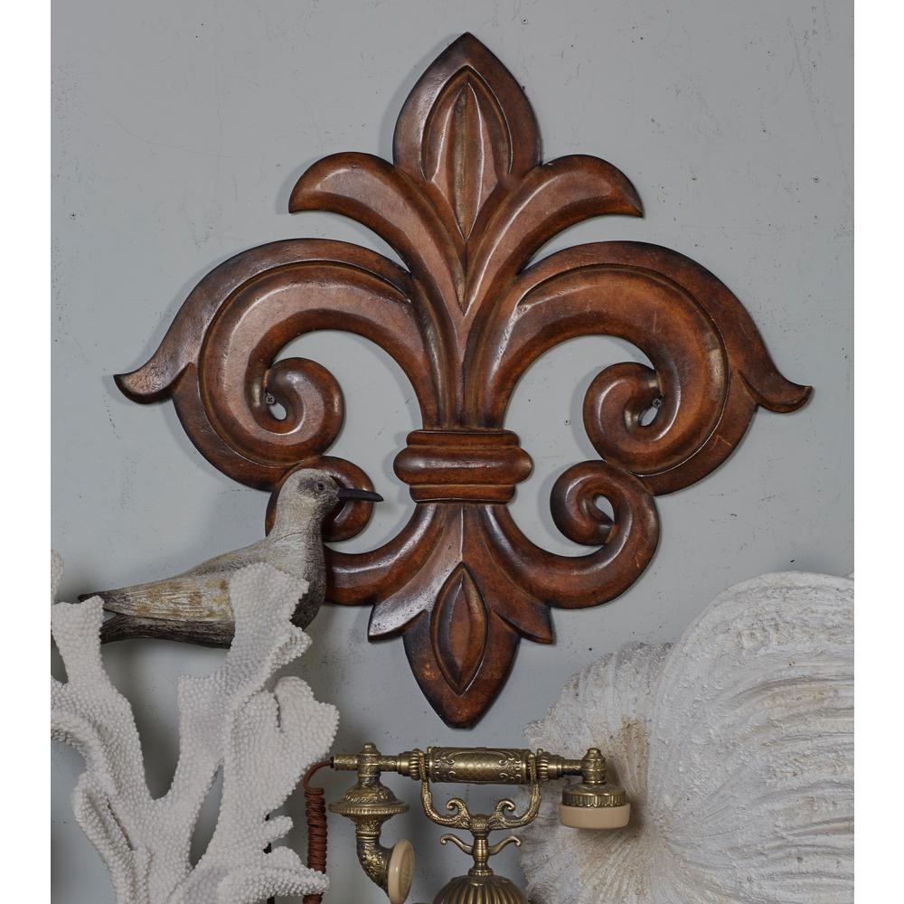 Litton Lane French Inspired Carved Fleur De Lis Wooden Wall Art Within Most Popular Fleur De Lis Wall Art (Gallery 1 of 20)