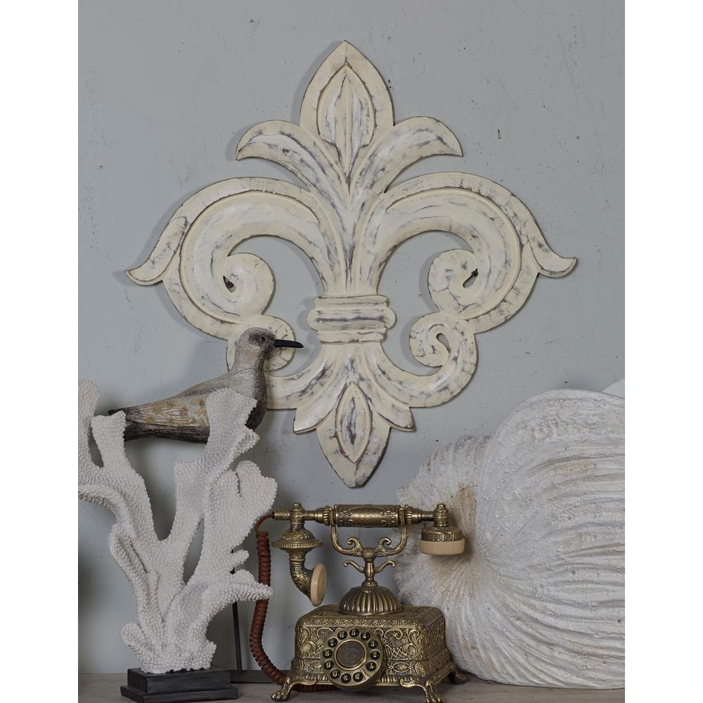 Litton Lane French Inspired Whitewashed Fleur De Lis Wooden Wall Art Pertaining To Recent Fleur De Lis Wall Art (View 11 of 20)