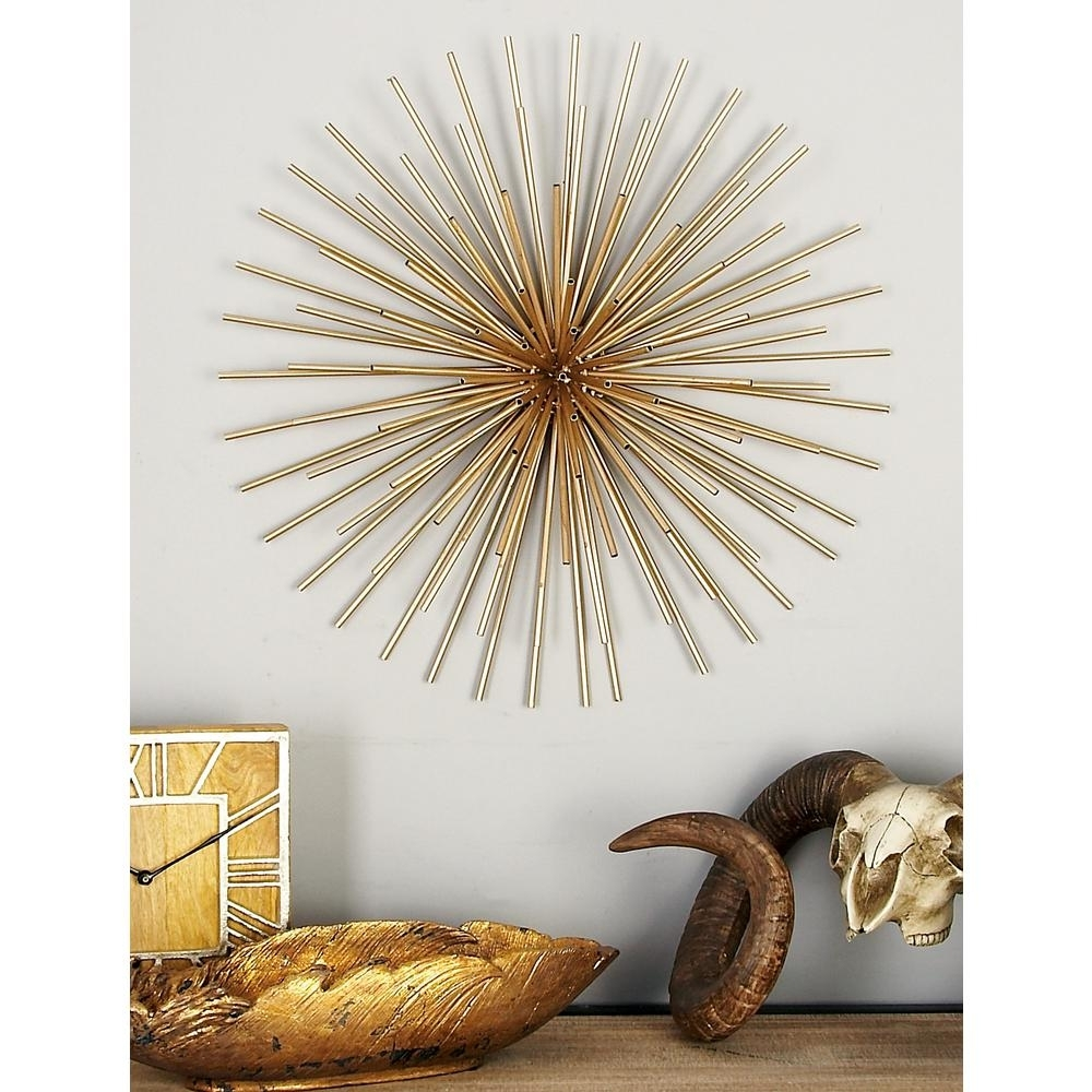 Litton Lane Iron Metallic Gold Round Spiked Wall Decor (Set Of 3 In Most Popular Gold Wall Art (View 7 of 15)
