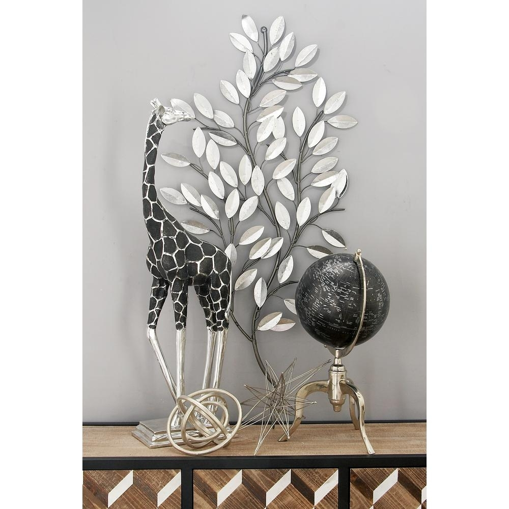 Litton Lane Natural Iron Silver Leaves And Stems Wall Decor 56848 Inside Best And Newest Iron Wall Art (View 13 of 20)