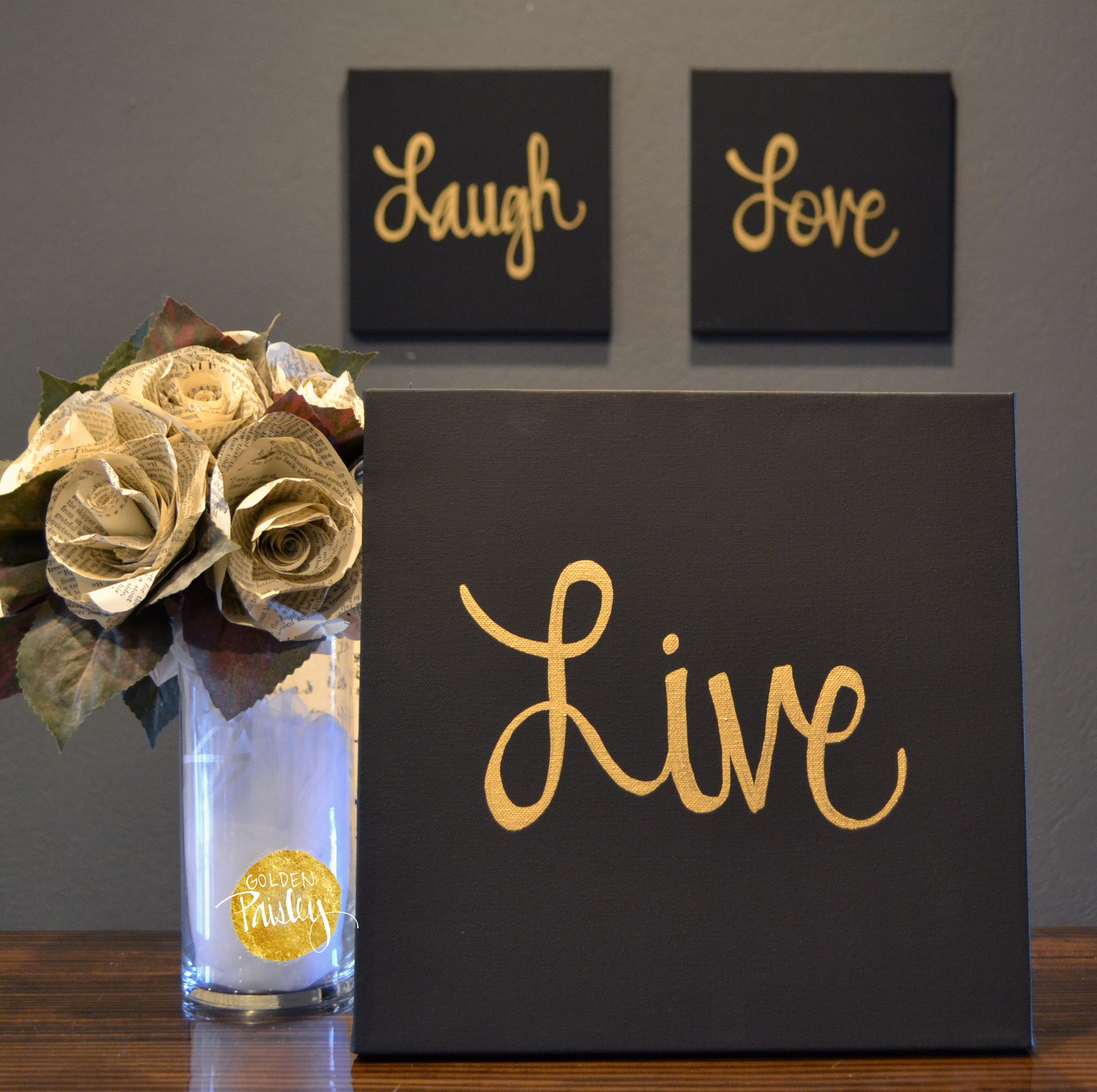 Live Laugh Love Black & Gold 3 Piece Wall Decor Set Regarding Newest Black And Gold Wall Art (View 2 of 20)