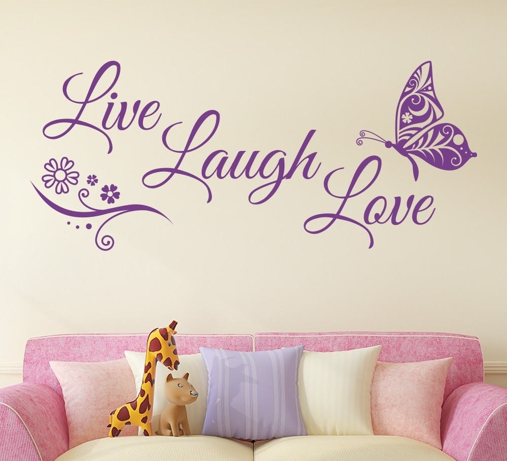 Live Laugh Love Butterfly Flower Wall Art Sticker – Gemdrip Throughout 2018 Live Laugh Love Wall Art (View 4 of 20)