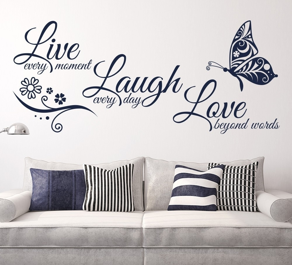 Live Laugh Love Butterfly Flower Wall Art Sticker Modern Wall Decals inside Most Recently Released Wall Art Stickers