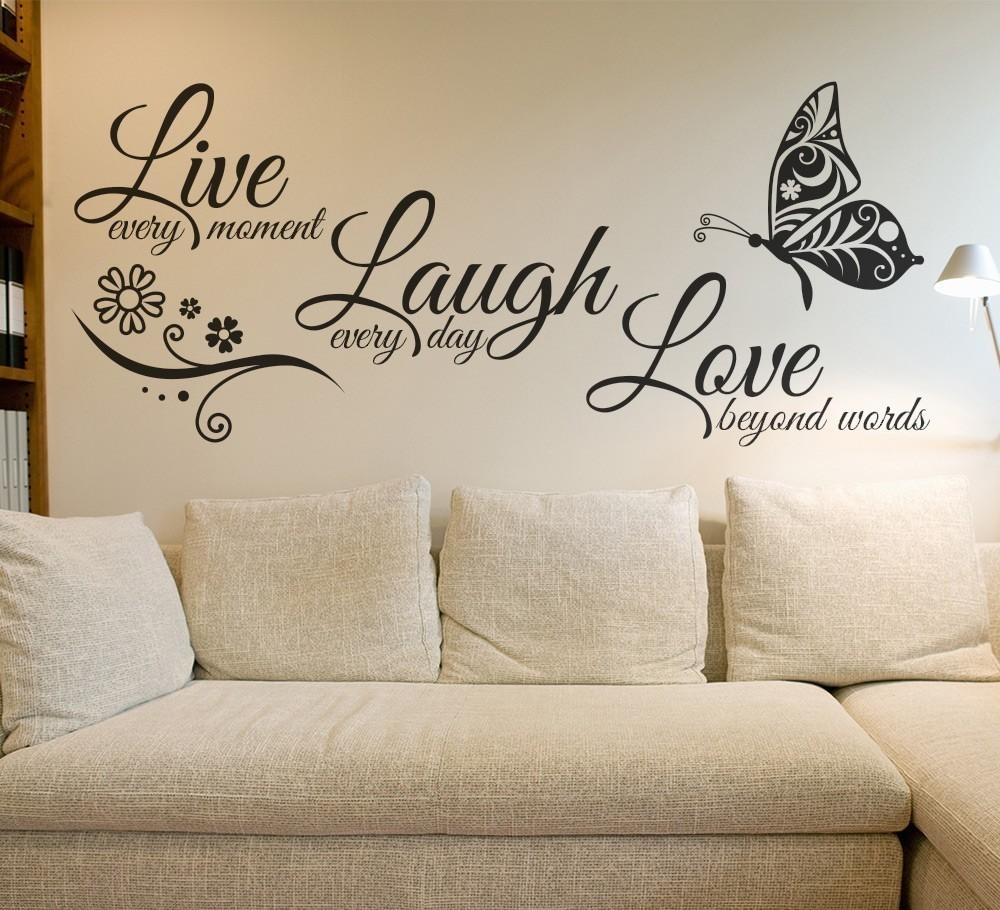 Live Laugh Love Butterfly Flower Wall Art Sticker Wall Decals Quotes Within Most Current Live Laugh Love Wall Art (Gallery 6 of 20)