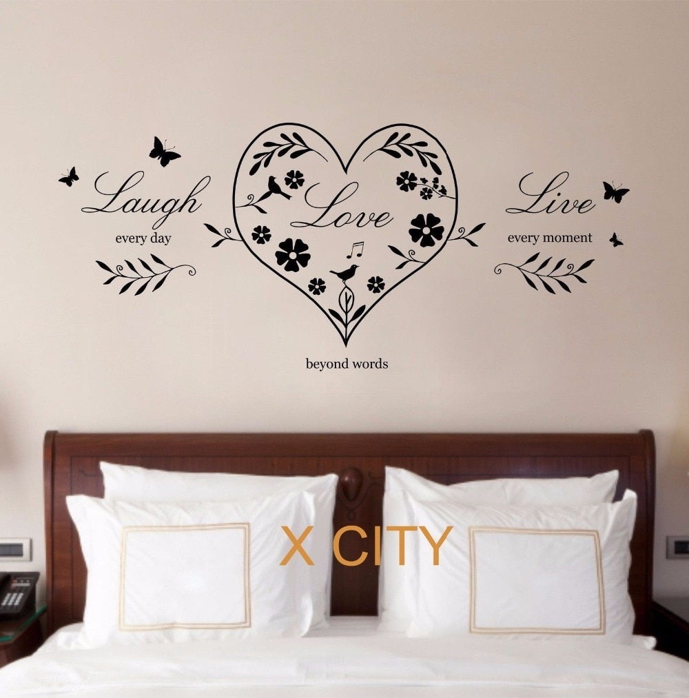 Live Laugh Love Heart Quote Creative Wall Art Sticker Removable With Most Popular Live Laugh Love Wall Art (Gallery 18 of 20)