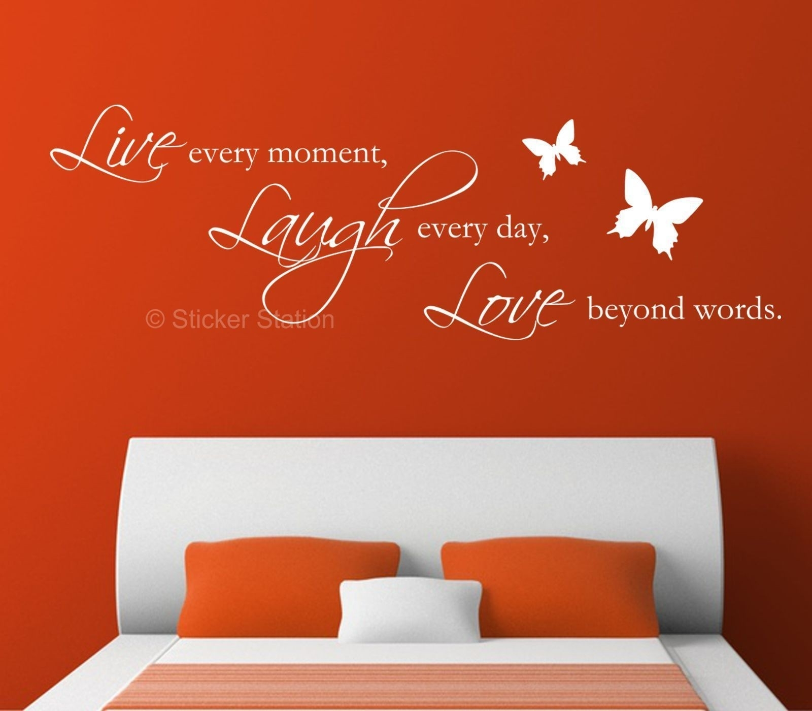 Live Laugh Love Quote & Butterflies Wall Art Sticker – Sticker Station Pertaining To Most Up To Date Live Laugh Love Wall Art (View 8 of 20)