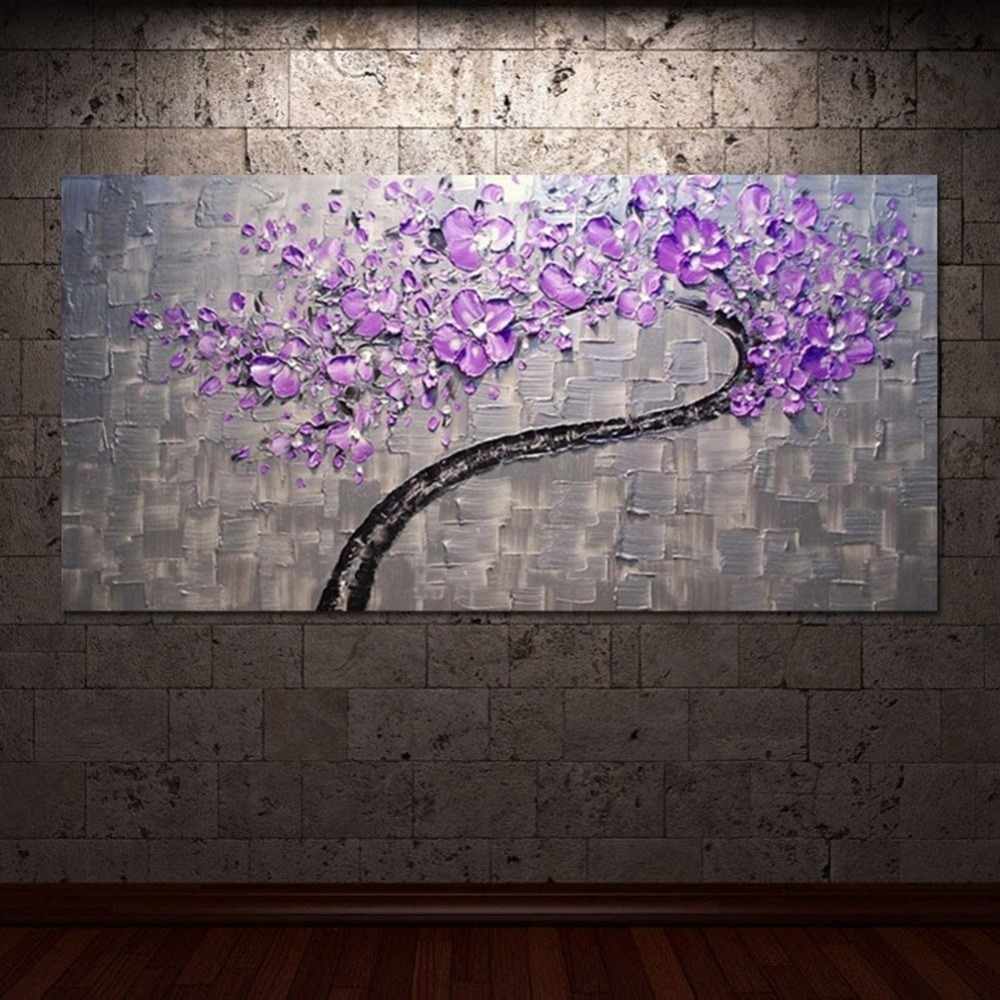 Living Room Hall Wall Art Handmade Landscape Oil Paintings On Canvas with regard to Latest Purple And Grey Wall Art