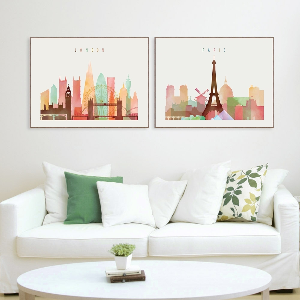 London/paris/new York Paintings Nordic Decoration Canvas Minimalist In Newest New York Wall Art (View 8 of 20)