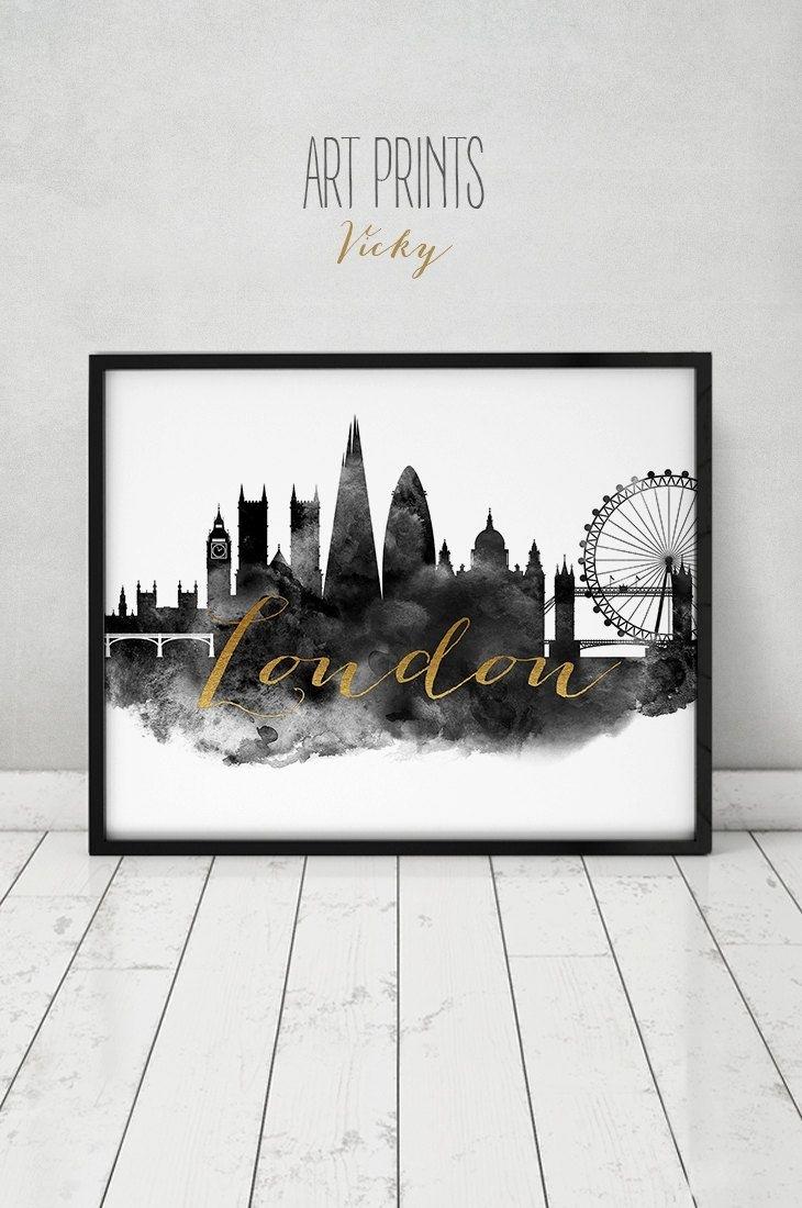 London Print, Wall Art, London Poster, London Skyline, London Black Within 2018 London Wall Art (View 8 of 20)