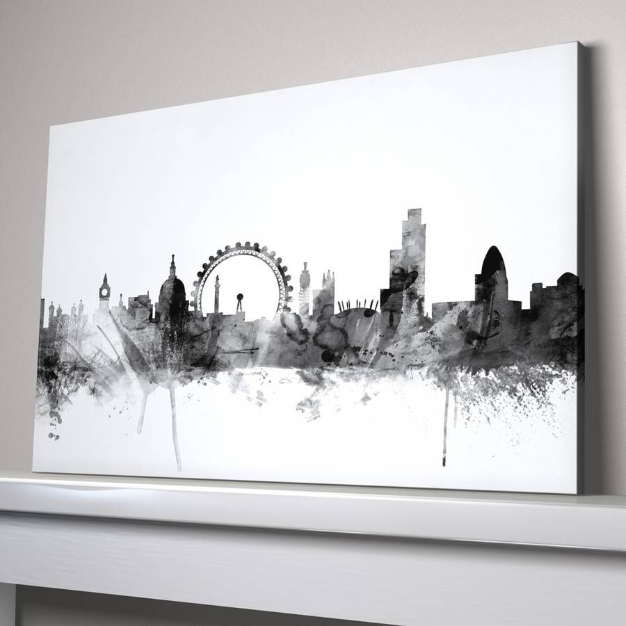 London Skyline Cityscape Black And Whiteartpause With Regard To Latest Black And White Large Canvas Wall Art (View 17 of 20)