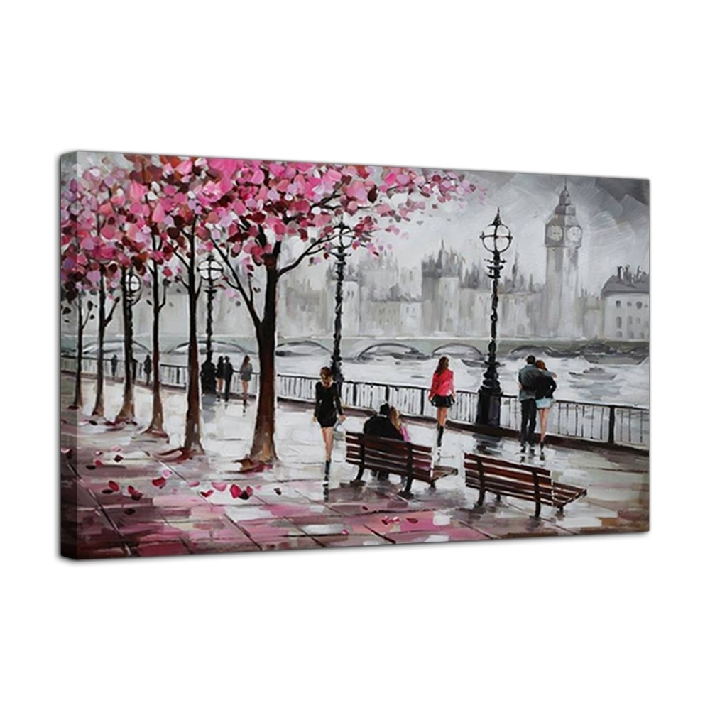 London Street Canvas Art Hand Painted Big Ben Oil Painting On Canvas Inside Most Recently Released London Wall Art (View 11 of 20)