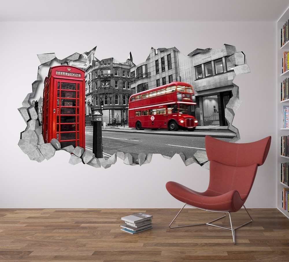 London Wall Decal 3D – Broken Wall Decal – 3D Wallpaper – Wall Decal Regarding Recent London Wall Art (View 14 of 20)