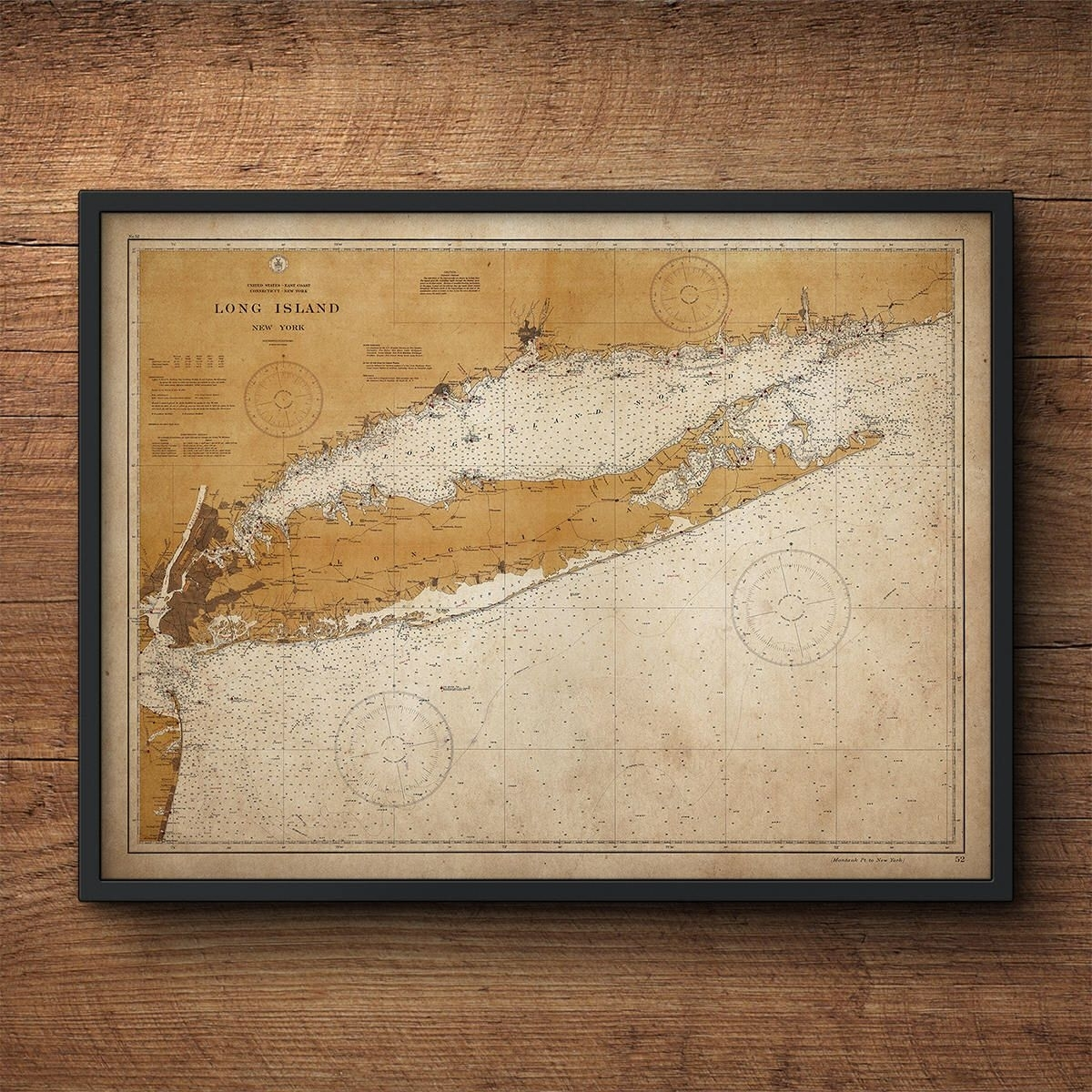 Long Island Map, Map Of Long Island, New York, Nautical Decor, Large Intended For Best And Newest Long Island Wall Art (View 10 of 20)