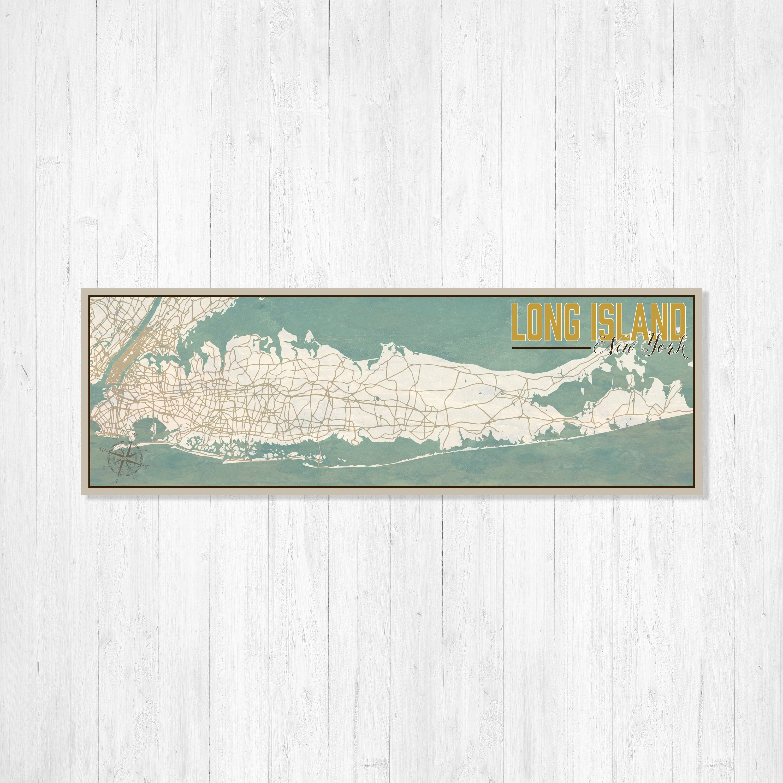 Long Island, New York, Long Island Map, Map Of Long Island, Nautical Within 2017 Long Island Wall Art (View 13 of 20)