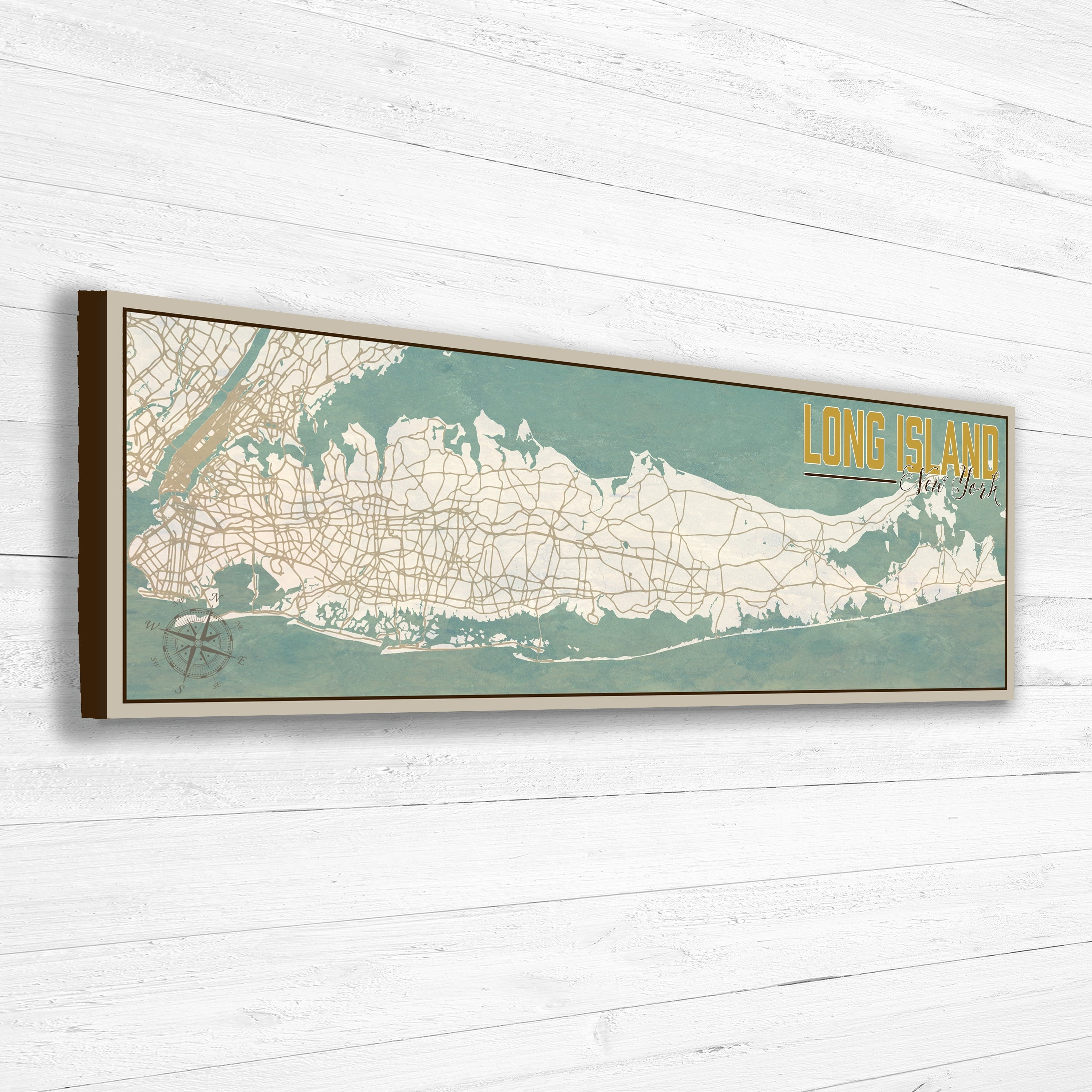 Long Island Ny Wall Art Map Framed North Fork Vintage Outdoor Inside 2018 Long Island Wall Art (View 11 of 20)