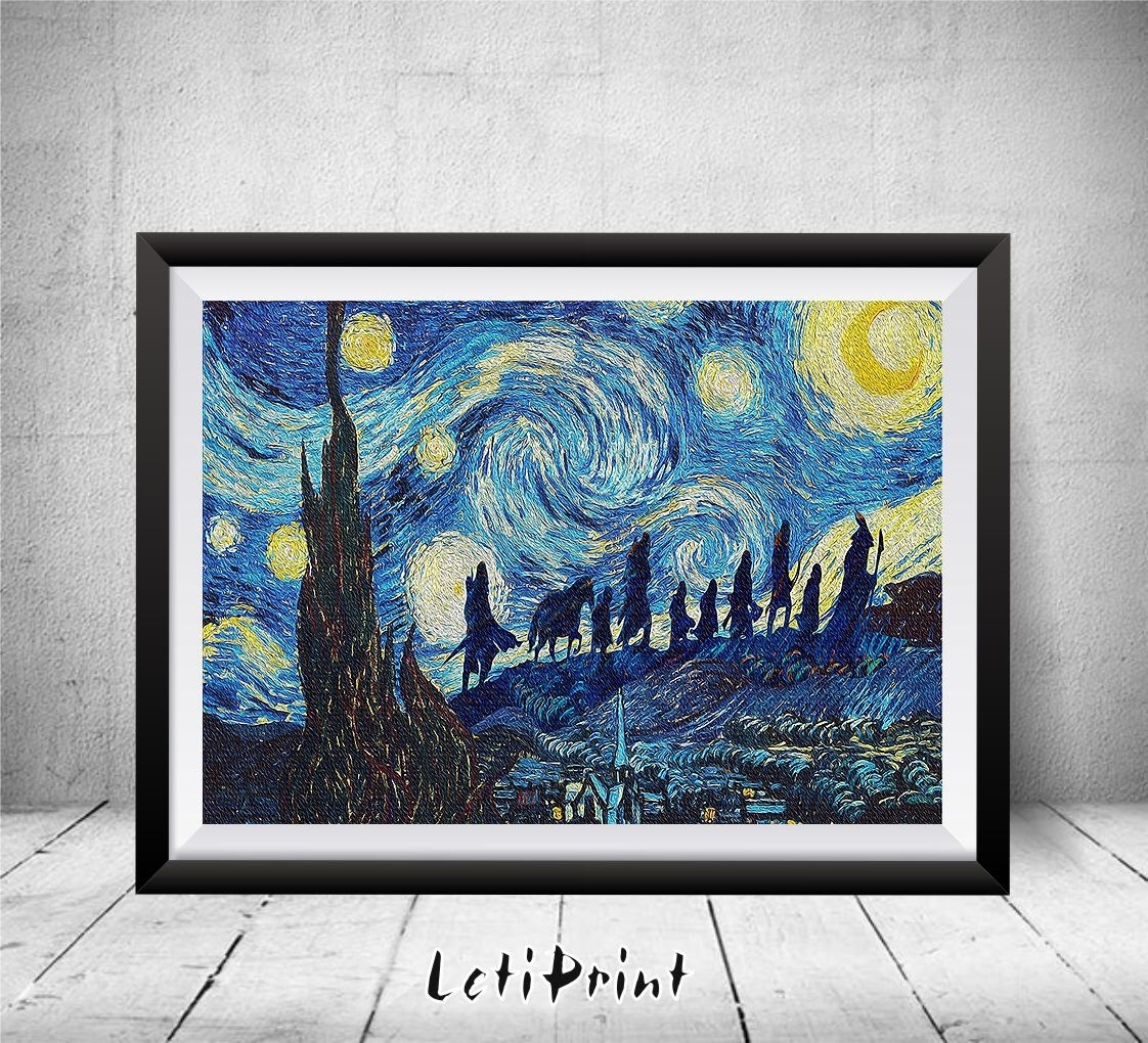 Lord Of The Rings Starry Night Print, Wall Art Decor, Lord Of The With Regard To Most Recent Lord Of The Rings Wall Art (Gallery 15 of 20)