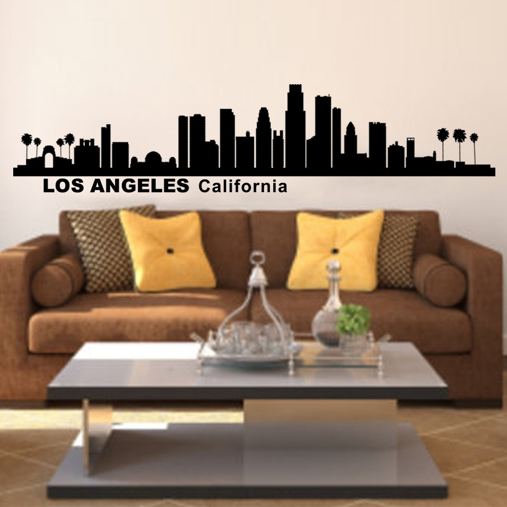 Los Angeles California City Skyline Silhouette Wall Art Home Decor Pertaining To Recent California Wall Art (View 13 of 20)