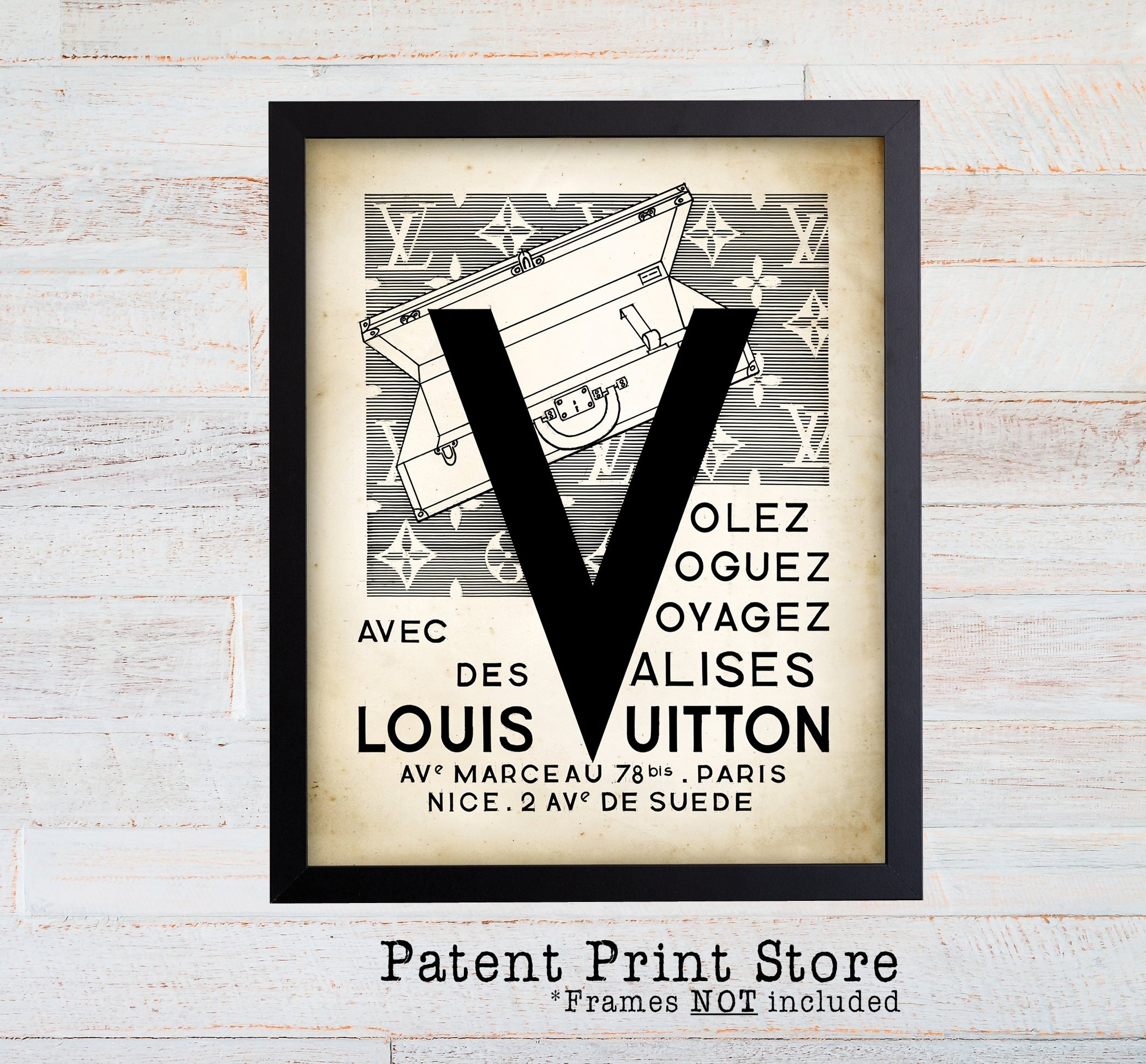 Louis Vuitton Vintage Ad Wall Art Print. Antique Travel Poster Inside Most Up To Date Fashion Wall Art (Gallery 11 of 20)